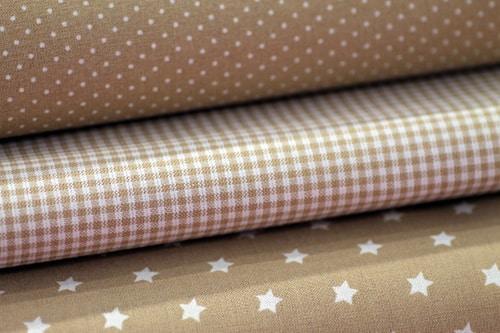 Baumwolle Punkte, Sterne, Karo und Uni